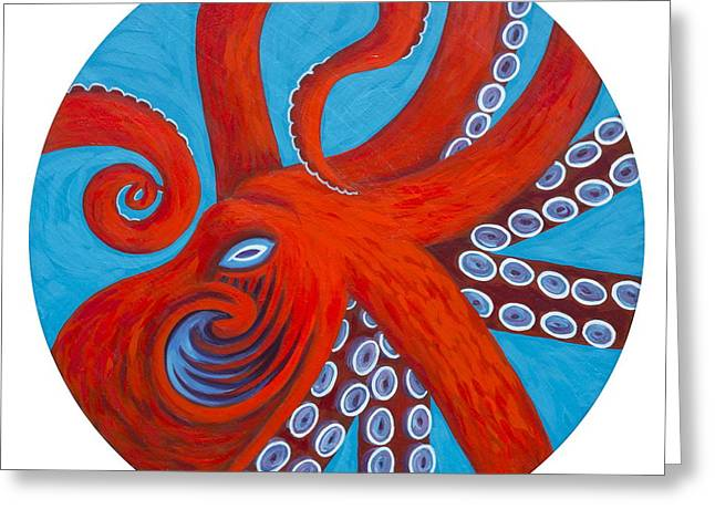 Painted Wood Paintings Greeting Cards - Octo Greeting Card by Danielle  Perry