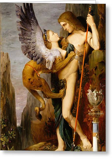 Gustave Moreau Greeting Cards - Oedipus and the Sphinx Greeting Card by Gustave Moreau