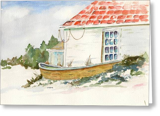 Maine Shore Paintings Greeting Cards - Off Season Greeting Card by Janet Kane