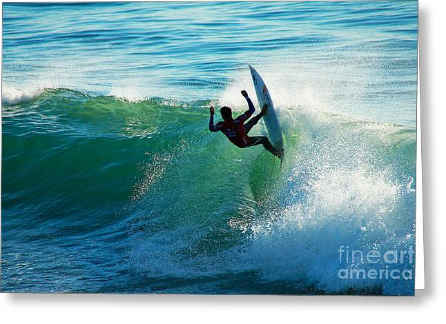 Steamer Lane Greeting Cards - Off the Lip Greeting Card by Paul Topp
