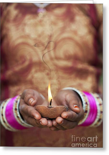Indian Ethnicity Greeting Cards - Offering the light Greeting Card by Tim Gainey