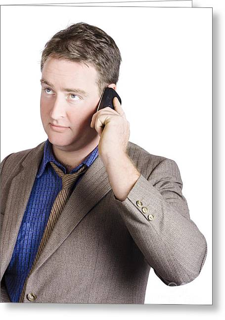 Shirt And Tie Greeting Cards - Office manager talking business on smartphone call Greeting Card by Ryan Jorgensen