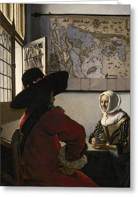 Dutch Girl Greeting Cards - Officer and Laughing Girl Greeting Card by Johannes Vermeer