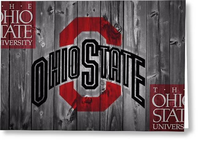 Barn Door Greeting Cards - Ohio State Buckeyes Greeting Card by Dan Sproul