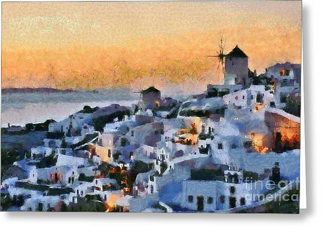 Village Greeting Cards - Oia town during sunset Greeting Card by George Atsametakis