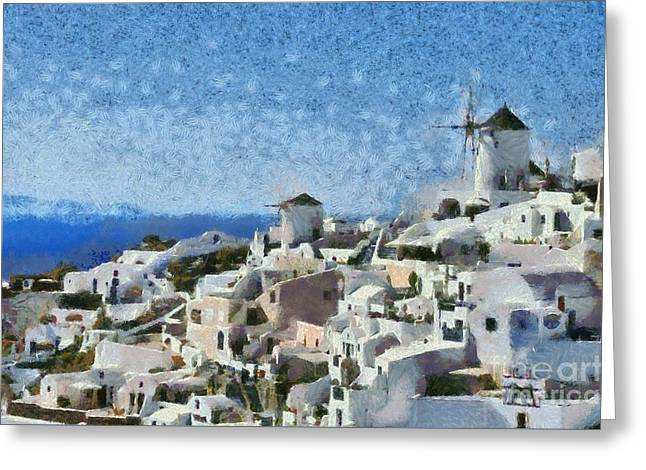 Cyclades Greeting Cards - Oia town Greeting Card by George Atsametakis
