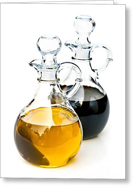 Decanter Greeting Cards - Oil and vinegar Greeting Card by Elena Elisseeva