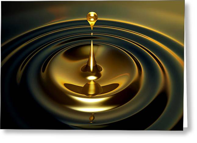 Droplet Digital Art Greeting Cards - Oil Droplet Greeting Card by Allan Swart