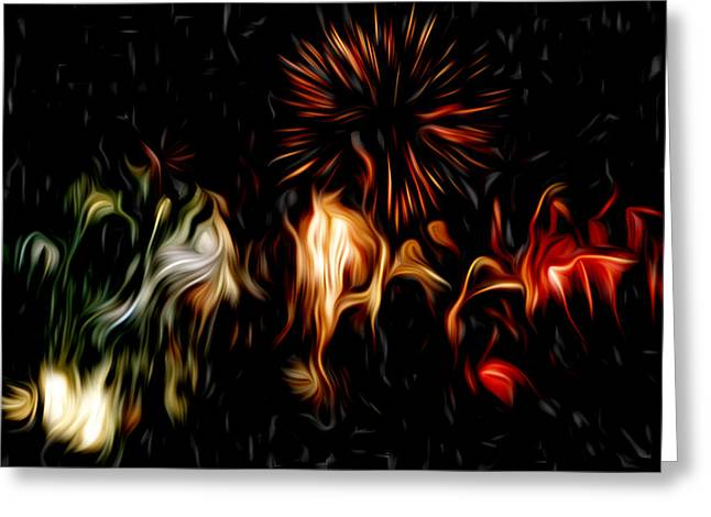 Star Pyrography Greeting Cards - Oil Fireworks Greeting Card by Stefan Petrovici