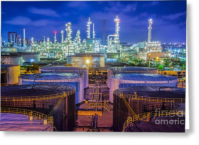 Power Plants Greeting Cards - Oil Refinary Industry  Greeting Card by Anek Suwannaphoom