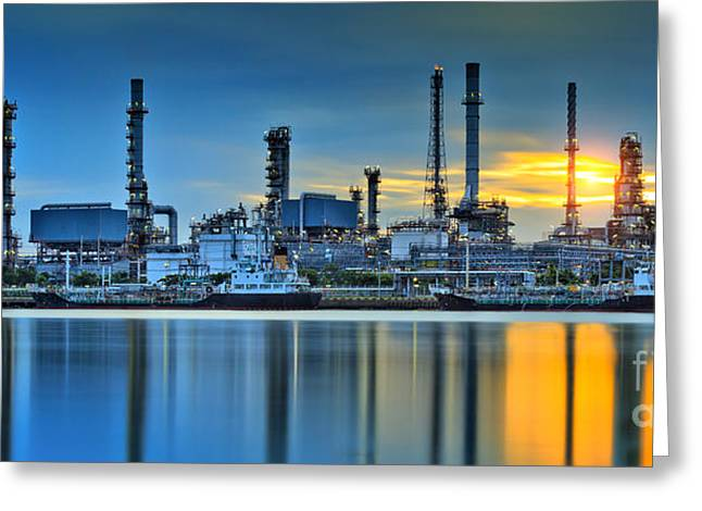 Gas Tower Greeting Cards - Oil refinery factory  Greeting Card by Anek Suwannaphoom