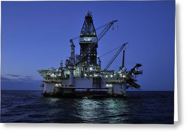 Sea Platform Greeting Cards - Oil Rig At Night Greeting Card by Bradford Martin
