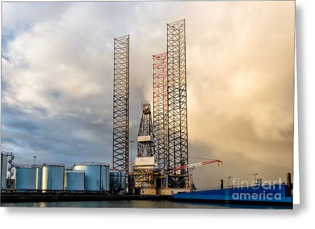 Sea Platform Greeting Cards - Oil rig in Esbjerg harbor Denmark Greeting Card by Frank Bach