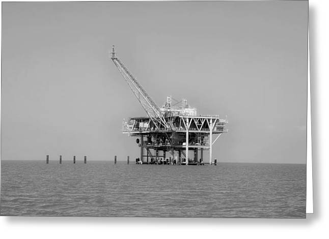 Sea Platform Greeting Cards - Oil Rig - Mobile Bay Greeting Card by Mountain Dreams