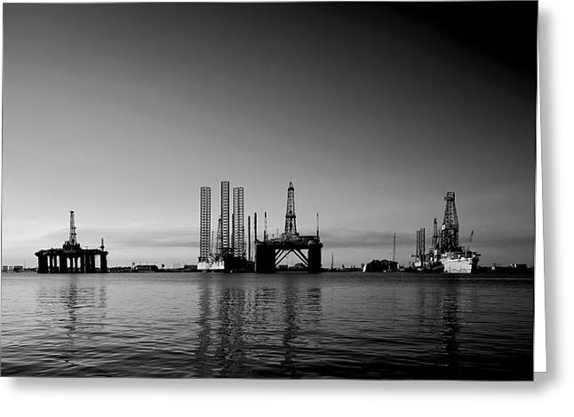 Galveston Greeting Cards - Oil Rigs in Galveston Texas Greeting Card by Mountain Dreams