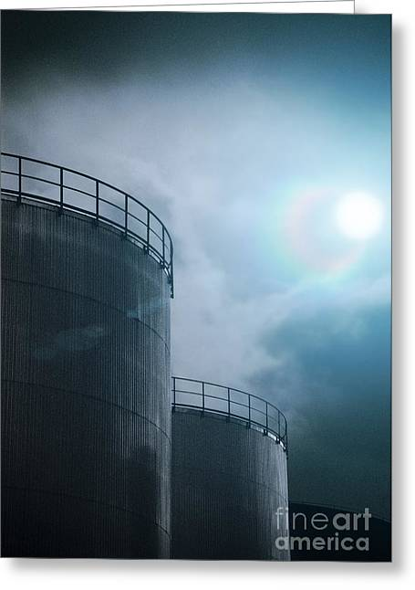 Industrial Concept Greeting Cards - Oil Storage Tanks Greeting Card by Richard Kail