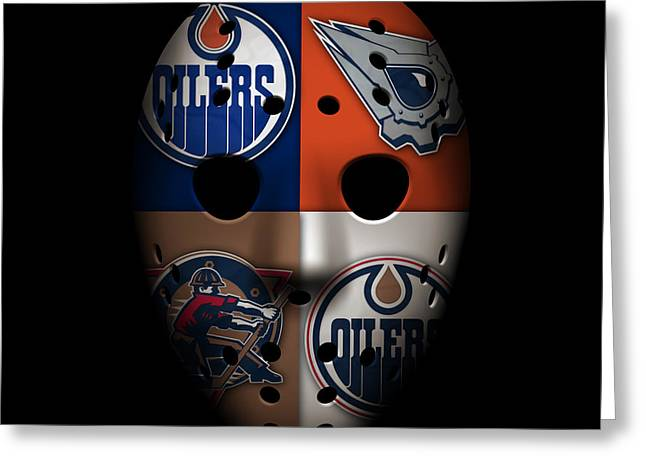 Skating Greeting Cards - Oilers Goalie Mask Greeting Card by Joe Hamilton