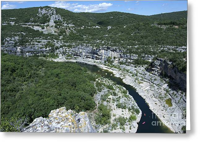 Canoeing Photographs Greeting Cards - oing down Ardeche River on canoe. Ardeche. France Greeting Card by Bernard Jaubert
