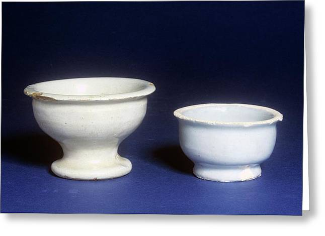 Ointment Pots Greeting Card by Science Photo Library