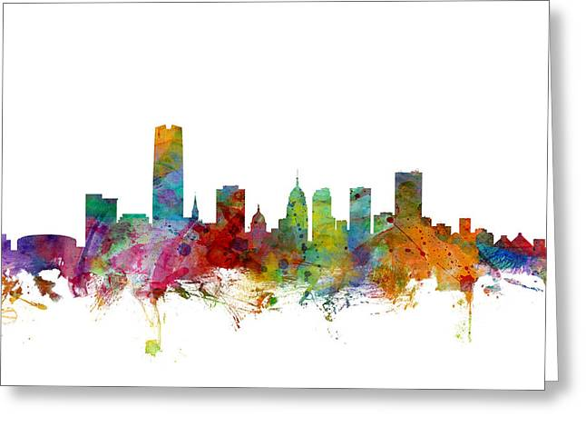 Cityscape Digital Art Greeting Cards - Oklahoma City Skyline Greeting Card by Michael Tompsett