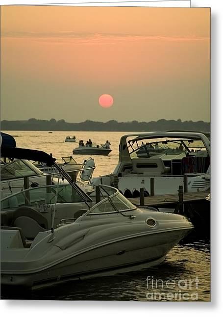Okoboji Greeting Cards - Okoboji Sunset Greeting Card by Steve Krull