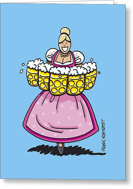 Oktoberfest Beer Waitress Dirndl Greeting Card by Frank Ramspott