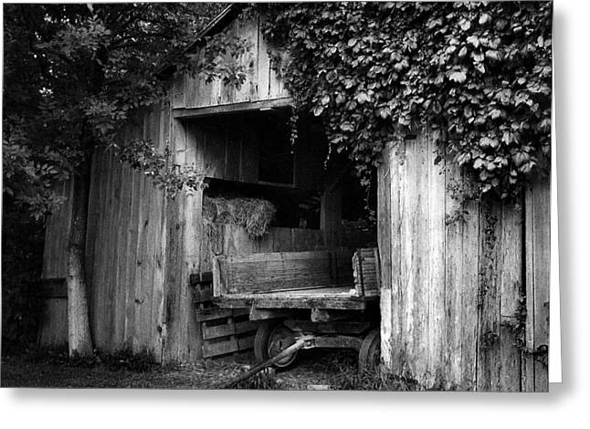 Julie Riker Dant ography Photographs Greeting Cards - Old Barn and Wagon Greeting Card by Julie Dant