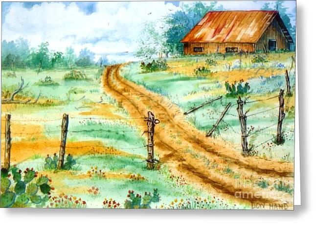 Tin Roof Mixed Media Greeting Cards - Old Barn Greeting Card by Don Hand