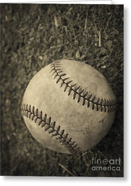 Field Greeting Cards - Old Baseball Greeting Card by Edward Fielding