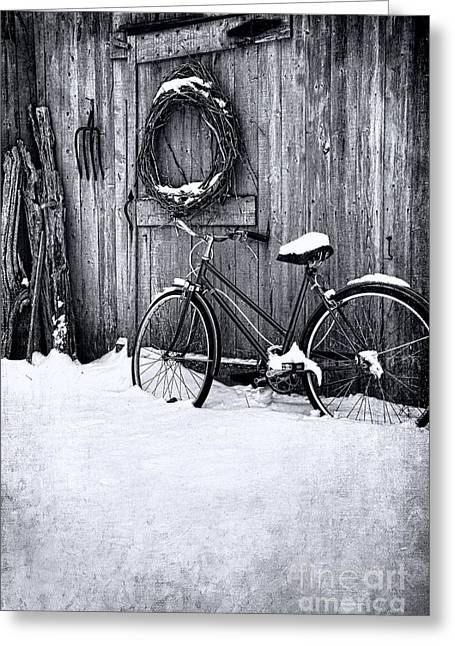 Old Barns Greeting Cards - Old bicycle leaning against barn Greeting Card by Sandra Cunningham