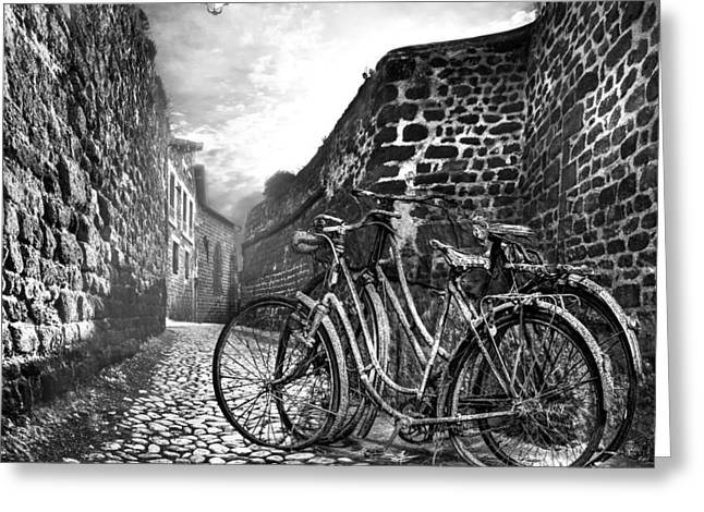 Chateau Greeting Cards - Old Bicycles on a Sunday Morning Greeting Card by Debra and Dave Vanderlaan