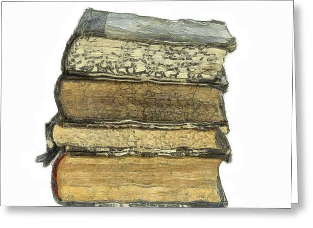 Antiquarian Greeting Cards - Old Books Greeting Card by Michal Boubin