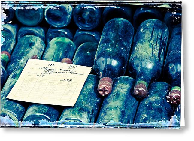 Barrel Roll Greeting Cards - Old Bottles With Wine Greeting Card by Ivanna Laka