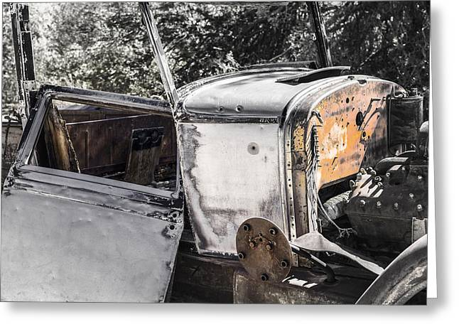 Rusted Cars Photographs Greeting Cards - Old Car Greeting Card by Joseph S Giacalone