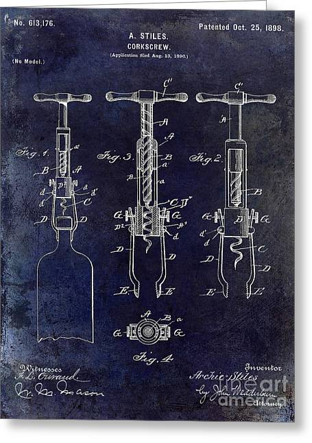 Cocktails Greeting Cards - 1898  Corkscrew Patent Drawing Greeting Card by Jon Neidert
