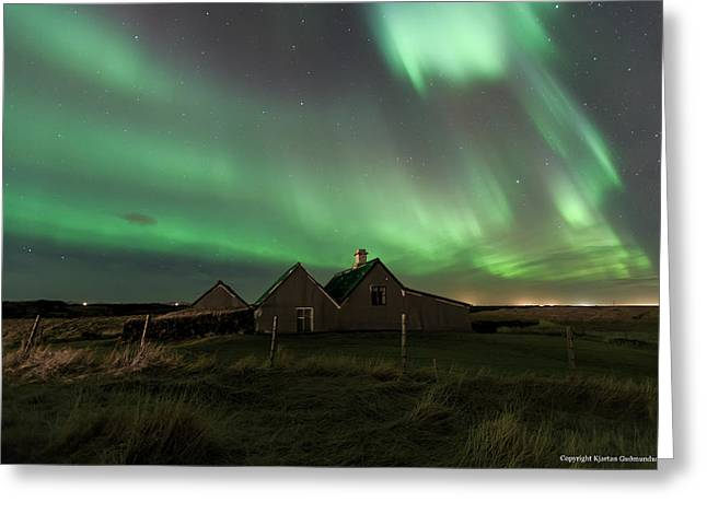 Northernlights Greeting Cards - Old Cottage. Greeting Card by Kjartan Gudmundur