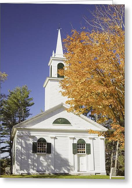 Rural America Greeting Cards - Old Country Church In Fall Greeting Card by Keith Webber Jr