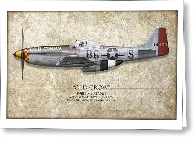 Aircraft Artwork Greeting Cards - Old Crow P-51 Mustang - Map Background Greeting Card by Craig Tinder