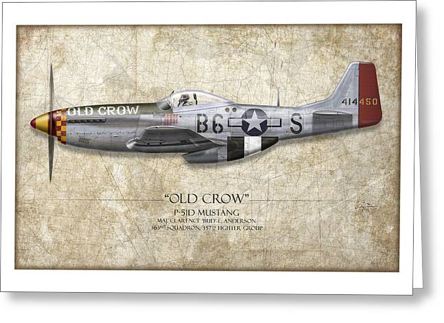 Old Aircraft Greeting Cards - Old Crow P-51 Mustang - Map Background Greeting Card by Craig Tinder