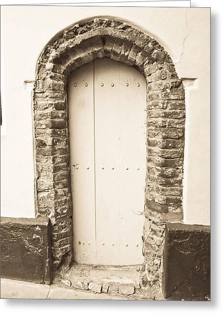 Medieval Entrance Greeting Cards - Old doorway Greeting Card by Tom Gowanlock