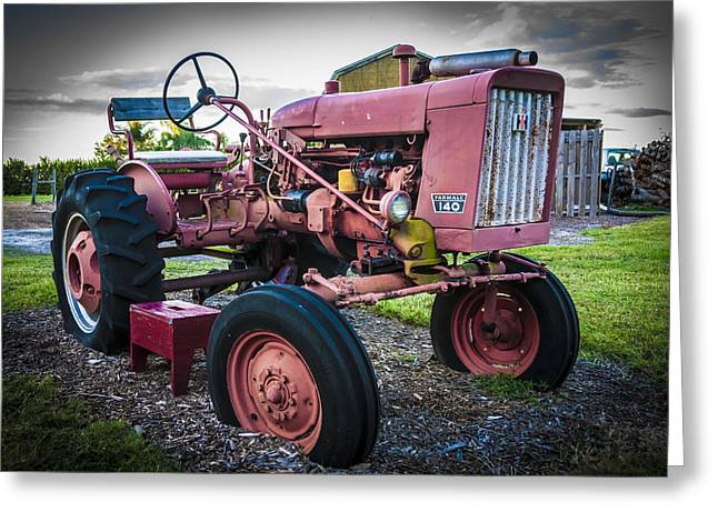 Tractor Tire Greeting Cards - Old Farm Tractor Farmall 140 IH Greeting Card by Rich Franco