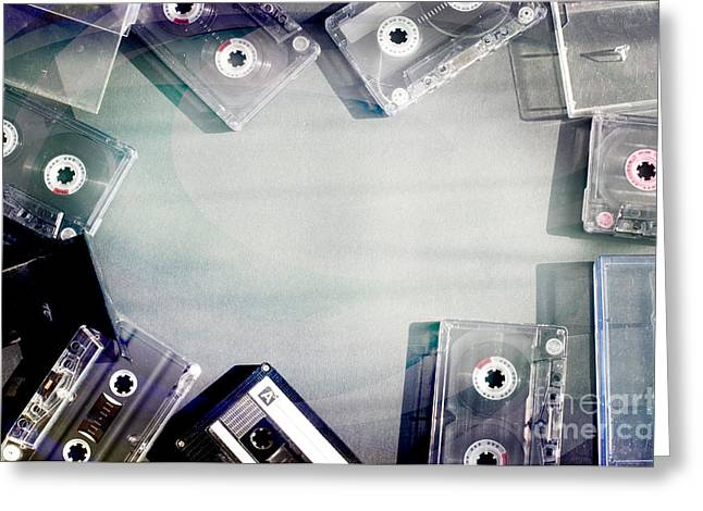 Casette Greeting Cards - Old fashioned audio tape cassettes background Greeting Card by Deyan Georgiev