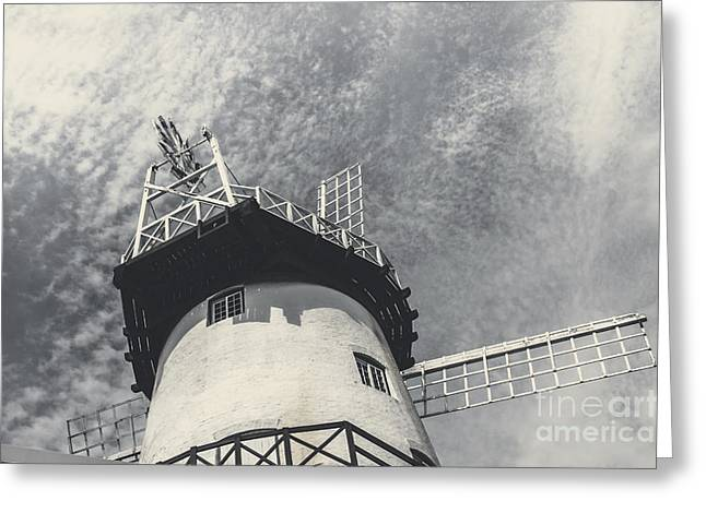 Flour Greeting Cards - Old-fashioned Australian windmill architecture Greeting Card by Ryan Jorgensen