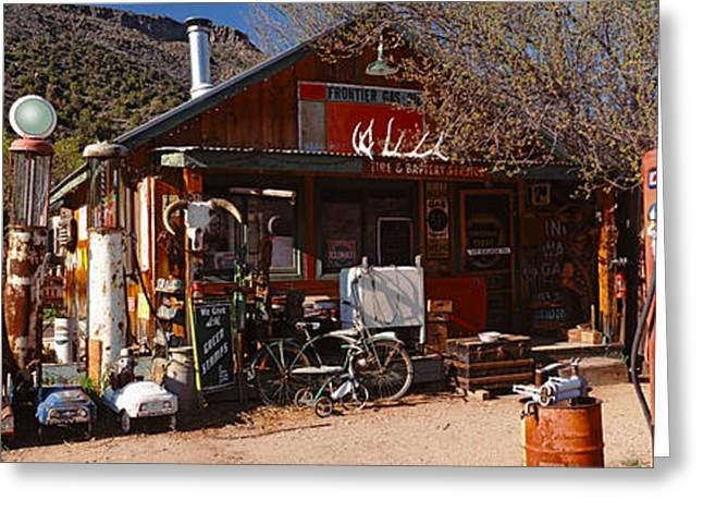 Fossil Fuel Greeting Cards - Old Frontier Gas Station, Embudo, New Greeting Card by Panoramic Images