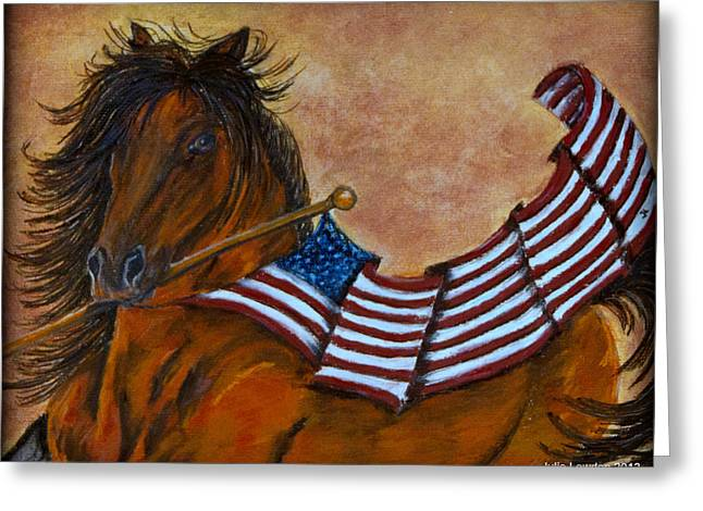 Military Pastels Greeting Cards - Old Glory Greeting Card by Julie Lowden