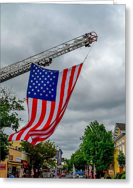 Theater Pyrography Greeting Cards - Old Glory Over Doylestown Greeting Card by Michael Brooks
