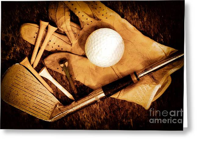 Golf Greeting Cards - Old Golf Gear Greeting Card by Charline Xia