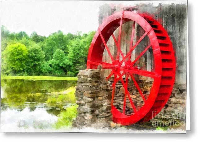 Grist Mill Greeting Cards - Old Grist Mill Vermont Red Water Wheel Greeting Card by Edward Fielding