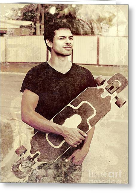 Men; Male; Males; People; Old Greeting Cards - Old grunge photo of a cool male skater Greeting Card by Ryan Jorgensen