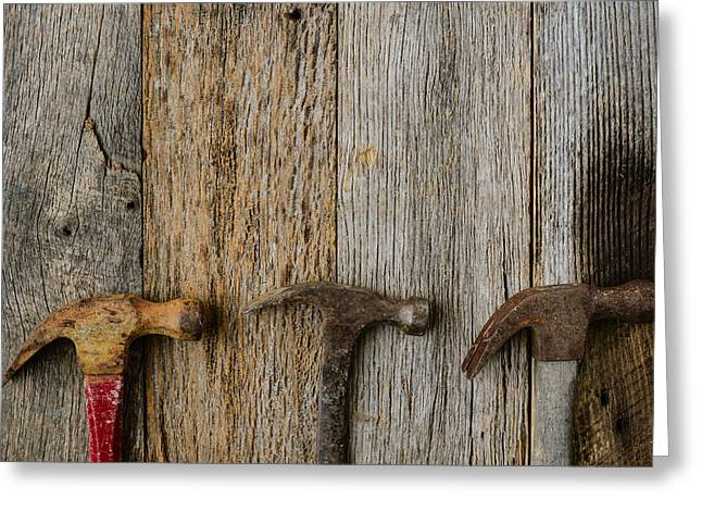 Yellow Hammer Greeting Cards - Old Hammers on Rustic Wood Background Greeting Card by Brandon Bourdages